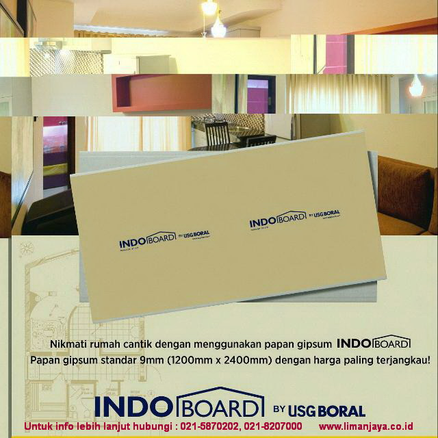 Papan Gipsum Indoboard by USGBORAL
